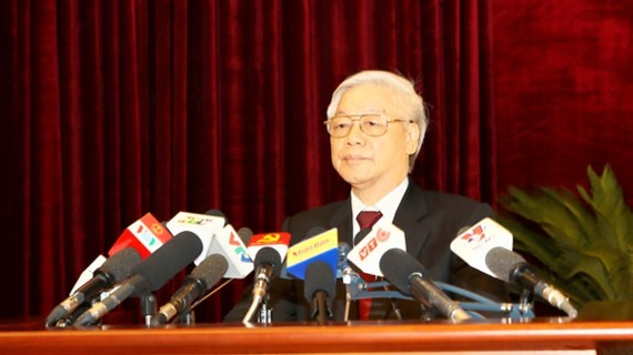 Party General Secretary Nguyen Phu Trong delivers a speech at the fifth plenary meeting of the 12th Communist Party of Vietnam (CPV) Central Committee, closed in Hanoi yesterday after six days of working. (Photo: VNA/VNS)