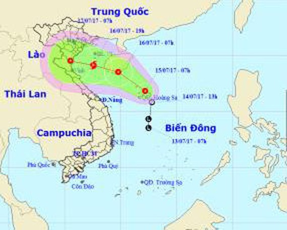 The direction of the tropical depression at 9 a.m. on July 15 (Photo: SGGP)