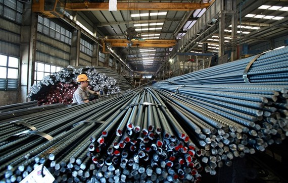 Steel products of the Thai Nguyen Laminated Steel Factory in the northern province of Thai Nguyen. (Photo: VNA/VNS)