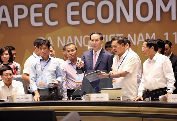 President Tran Dai Quang attends the rehearsal of activities in APEC Economic Leaders' Week (Photo: VNA)