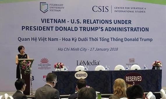 A view of the workshop on  Vietnam-US relations under President Donald Trump's Administration on January  17 (Photo: nguoilaodong)