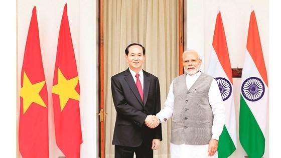 President Tran Dai Quang holds talks with Indian Prime Minister Narendra Modi in New Delhi. (Photo: VNA/VNS)