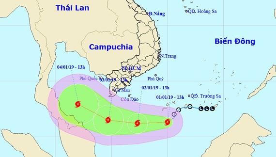 Direction of Typhoon Pabuk (Photo: national weather bureau)