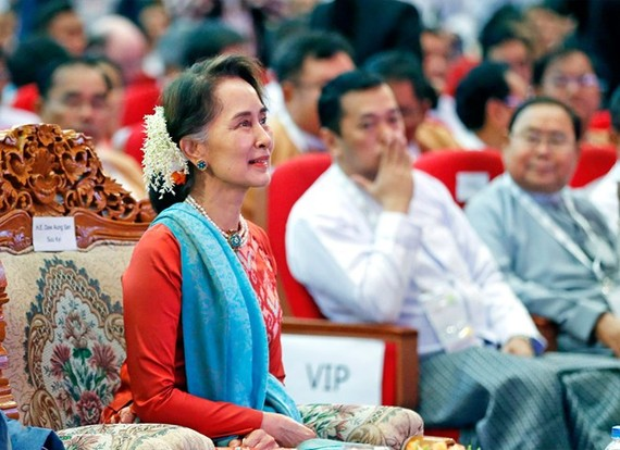 State Counsellor of Myanmar Aung San Suu Kyi at the Invest Myanmar Summit in Nay Pyi Taw (Photo: EPA)