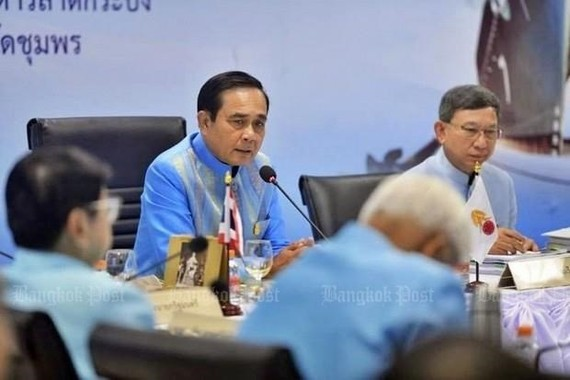 Prime Minister Prayut Chan-o-cha presided over a mobile cabinet meeting at Chumphon, Thailand (Photo: www.bangkokpost.com)