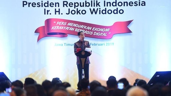 President Joko Widodo delivers a speech in the commemoration of the National Press Day (HPN) in Surabaya, East Java, on February 9, 2019. The 2019 HPN is themed The Press Boosts Digital-based People's Economy. (Source: Antara)