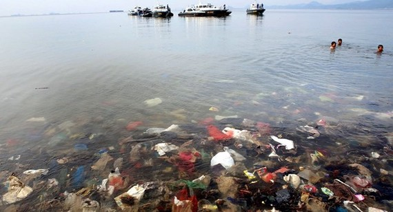 Plastic waste seen submerged in water during an event to clear garbage from Lampung bay in the Sukaraja village in the Bumi Waras subdistrict of Bandar Lampung on February 21, 2019 (Source: AFP)