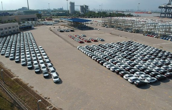 Imported cars at Saigon Premier Container Terminal. (Photo: SGGP)