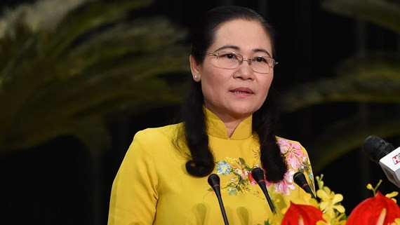 Chairwoman of HCMC People's Council Nguyen Thi Le delivers a closing statement of the 15th session of the 9th Ho Chi Minh City People's Council on July 13 (Photo: SGGP)