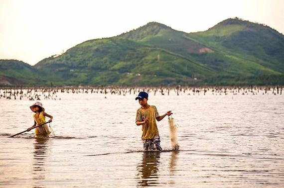 Catching fish with fishing net in Tam Giang lagoon (Photo: SGGP)