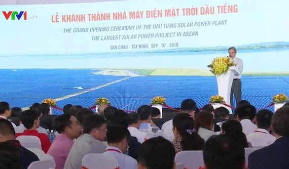 The grand opening ceremony of the largest solar power complex in Southeast Asia was organized in the southern province of Tay Ninh on September 7 (Photo: VTV)