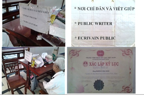 Duong Van Ngo was facilitated by the Vietnam Guinness Book of Records as the longest serving 'Public Writer' in Vietnam.