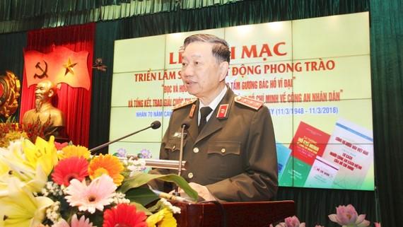 Thượng tướng Tô Lâm - Bộ trưởng Bộ Công an phát biểu tại buổi lễ