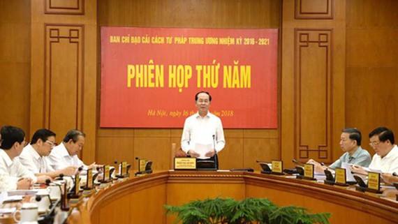 Chủ tịch nước Trần Đại Quang phát biểu tại Phiên họp thứ năm Ban Chỉ đạo Cải cách tư pháp Trung ương. Ảnh: VGP