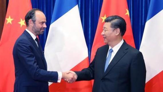 Chủ tịch Trung Quốc Tập Cận Bình tiếp Thủ tướng Pháp Edouard Philippe tại thủ đô Bắc Kinh. Ảnh: THX/TTXVN