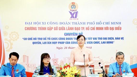 Chủ tịch HĐND TPHCM Nguyễn Thị Quyết Tâm phát biểu tại chương trình gặp gỡ giữa lãnh đạo TPHCM với các đại biểu. Ảnh: HOÀNG HÙNG