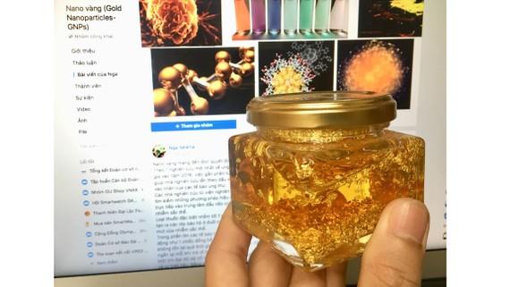 Nhiều sản phẩm giới thiệu trên mạng là nano vàng nhưng công hiệu rất mù mờ. Ảnh: GIA QUẢNG