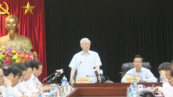 Tổng Bí thư Nguyễn Phú Trọng phát biểu tại buổi  làm việc với Ban Tuyên giáo Trung ương