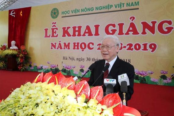 Tổng Bí thư Nguyễn Phú Trọng phát biểu tại Lễ khai giảng năm học mới Học Viện Nông nghiệp Việt Nam. Ảnh: TTXVN