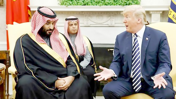 Tổng thống Donald Trump tiếp Thái tử Saudi Arabia Mohammed bin Salman tại Nhà Trắng vào tháng 3-2018