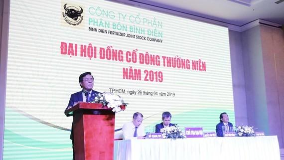 Ông Ngô Văn Đông, Tổng Giám đốc Công ty CP phân bón Bình Điền phát biểu tại Đại hội cổ đông năm 2019