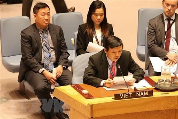 Phái đoàn đại diện thường trực Việt Nam tại Liên hợp quốc tham dự một phiên thảo luận. Ảnh: Hữu Thanh/TTXVN