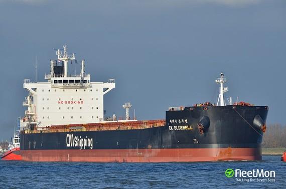 Tàu chở hàng Hàn Quốc CK Bluebell bị cướp vào ngày 22-7. Ảnh: FleetMon