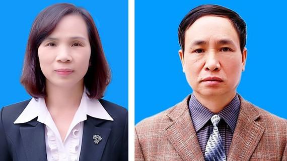 Bị can Triệu Thị Chính (trái) và bị can Phạm Văn Khuông