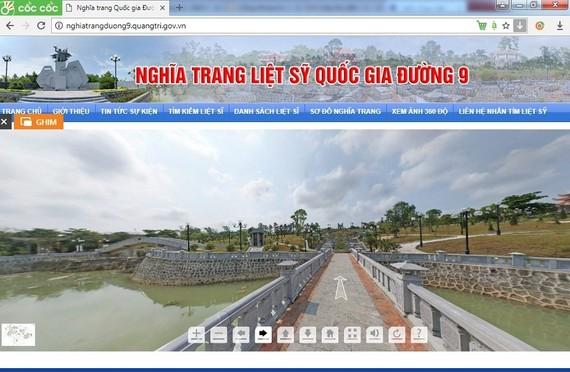 Giao diện Website Nghĩa trang liệt sỹ quốc gia  Đường 9 tại địa chỉ http://nghiatrangduong9.quangtri.gov.vn