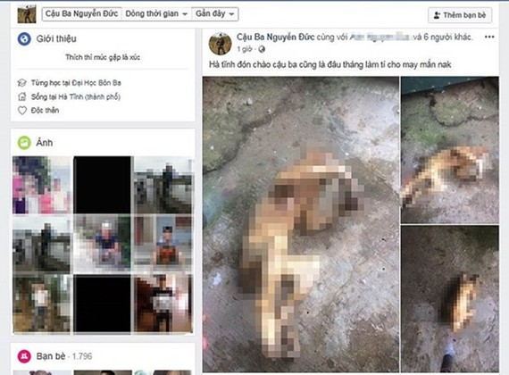 Hình ảnh cá thể khỉ (hoặc voọc) đã chết được đăng tải lên Facebook. Ảnh chụp lại từ màn hình