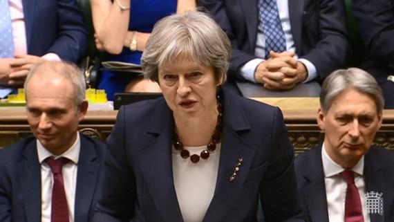 Thủ tướng Anh Theresa May phát biểu hôm 14-3. Ảnh: AFP