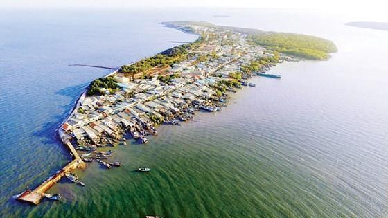 Xã đảo Thạnh An nhìn từ trên cao