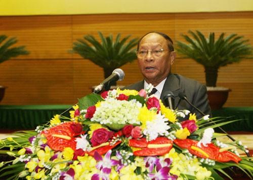 Ông Samdech Heng Samrin, 84 tuổi, nguyên Chủ tịch Quốc hội khóa V, Chủ tịch danh dự đảng CPP, tiếp tục giữ chức Chủ tịch Quốc hội khóa VI. Ảnh: TTXVN