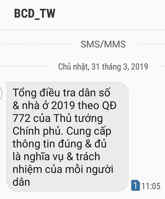 Tin nhắn có nội dung nhắc nhở người dân hưởng ứng cung cấp thông tin cho cuộc tổng điều tra dân số và nhà ở