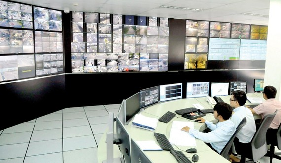 Trung tâm giám sát và điều khiển giao thông TPHCM          .     Ảnh: CAO THĂNG