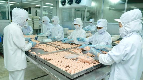 Sản xuất thực phẩm chế biến phục vụ người tiêu dùng dịp tết tại CJ Cầu Tre. Ảnh: CAO THĂNG