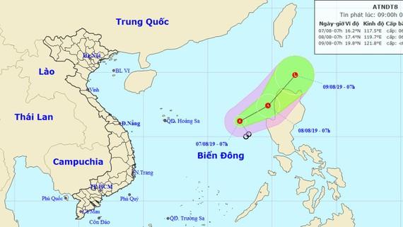 Vị trí và đường đi của áp thấp nhiệt đới. Nguồn: TTDBKTTVTW
