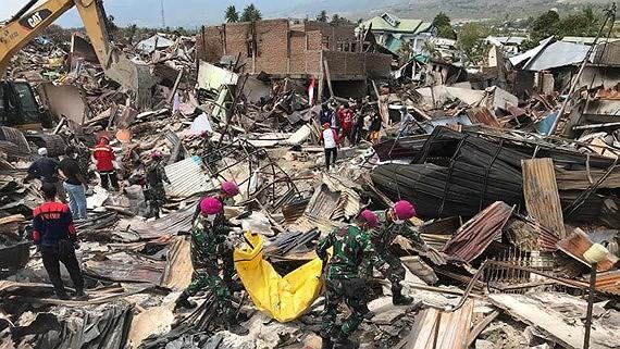 Thảm họa động đất và sóng thần tại đảo Trung Sulawesi, Indonesia vào tháng 9-2018.