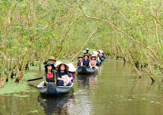 Du khách đi theo nhóm rất ưa thích đến Trà Sư, bởi những hoạt động hòa với thiên nhiên hấp dẫn.