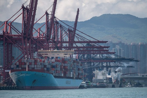 Container ships docked at the Kwai Ching Container Terminals in Hong Kong on May 14, 2019. PHOTO: PHILIP FONG/AGENCE FRANCE-PRESSE/GETTY IMAGES