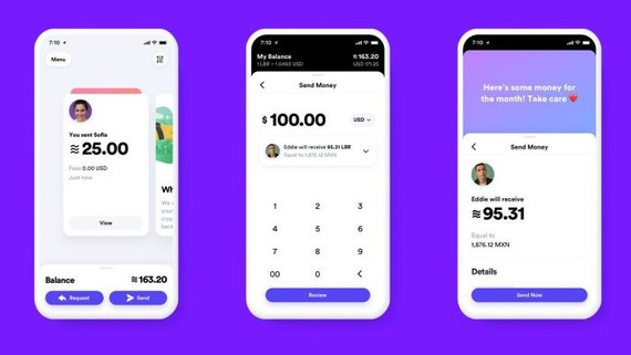 The tech giant illustrated how its digital currency, Libra, might appear on a smartphone. PHOTO: FACEBOOK