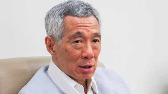 Singapore Prime Minister Lee Hsien Loong at an interview on June 24 in Singapore (Photo by Kentaro Iwamoto)