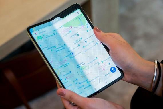 Samsung's Galaxy Fold smartphone being folded. Hollis Johnson/Business Insider
