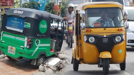 Local startup PassApp has become shorthand for ride hailing in Cambodia, but now faces a challenge from Grab. (Source photos by Shaun Turton and Ken Kobayashi)