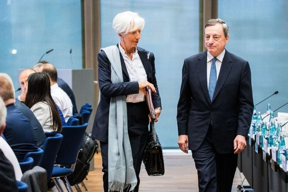 Ms. Lagarde used her network like a politician. With European Central Bank President Mario Draghi in June. PHOTOS: EPA/SHUTTERSTOCK; GETTY IMAGES; BLOOMBERG NEWS; ASSOCIATED PRESS