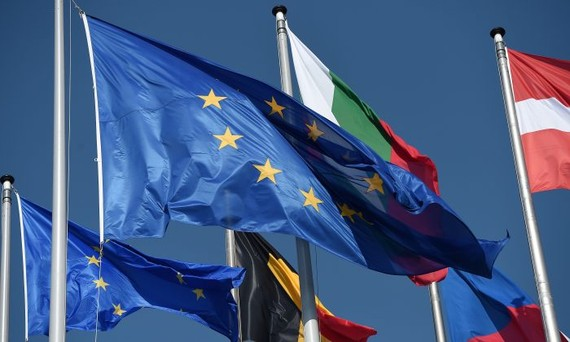 Flags of the European Union fly next to flags of EU member countries at the European Parliament in Strasbourg, eastern France, on July 1, 2019. (Frederick Florin/AFP/Getty Images)