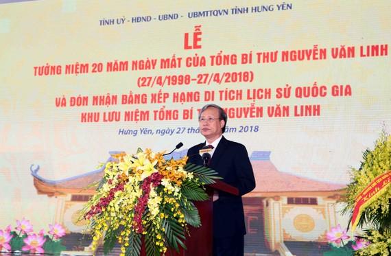 Ủy viên Bộ Chính trị, Thường trực Ban Bí thư, Chủ nhiệm Ủy ban Kiểm tra Trung ương Trần Quốc Vượng phát biểu tại buổi lễ. Ảnh: VGP