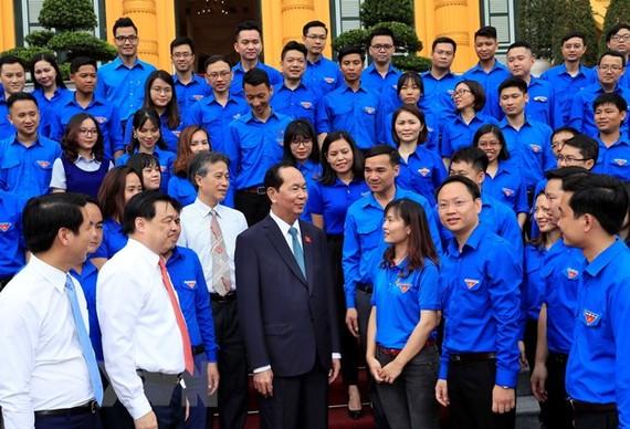 Chủ tịch nước Trần Đại Quang gặp mặt thanh niên tiên tiến làm theo lời Bác Khối các Cơ quan Trung ương. Ảnh: TTXVN