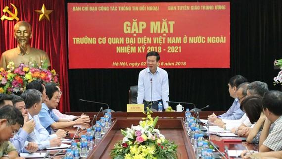 Ủy viên Bộ Chính trị, Bí thư Trung ương Đảng, Trưởng Ban Tuyên giáo Trung ương Võ Văn Thưởng phát biểu tại cuộc gặp mặt. Ảnh: tuyengiao