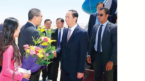 Các quan chức chính quyền tỉnh Luxor đón Chủ tịch nước Trần Đại Quang tại sân bay quốc tế Luxor, Ai Cập